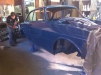 The car in its final colour, petrol blue.