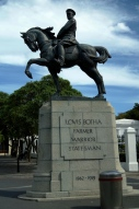 Louis Botha's statue outside parliament. Later vandalised.