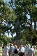 """Tourists admire Rhode's statue, which faces north, towards Africa in the centre of Cape Town. """"Your hinterland is there"""""""