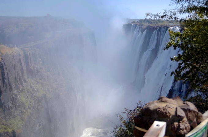 The mighty falls from the Zambian side.