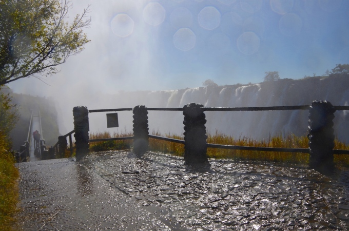 Everything gets drenched around the falls.