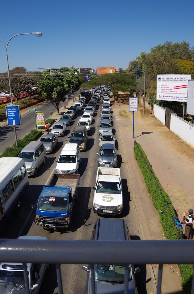 The traffic on Addis Ababa Street.