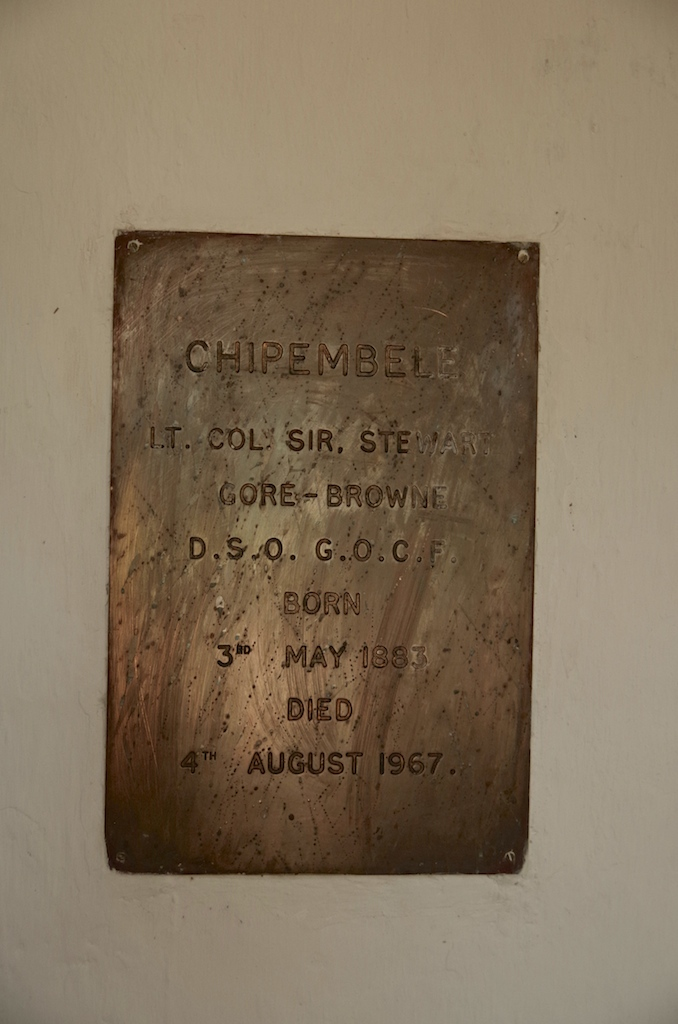 A plaque in the chapel commemorating Stewart Gore-Browne.