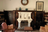 The fireplace in the library.