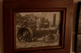 An old photograph of the steam engine.