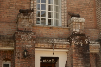 The Rhinos above the door, and the letters L & S for Lorna and Stewart.