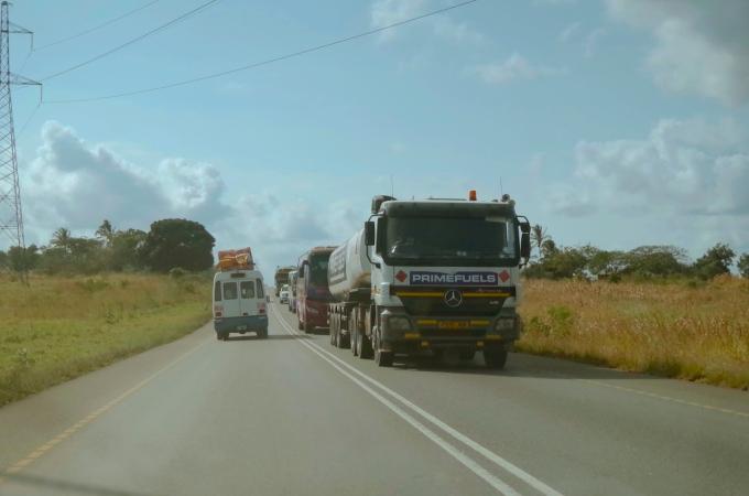 Traffic on the way into Dar es Salaam.