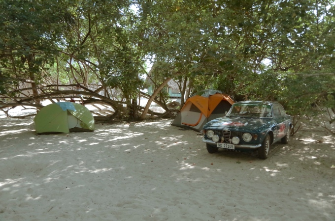 Camp D2D at Mikadi Beach, about 6 or 7 meters from the water.