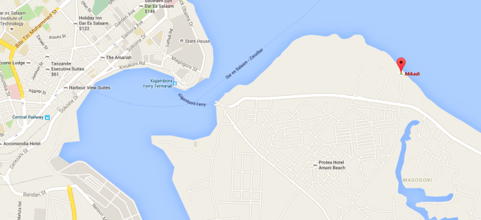 The location of Mikadi Beach within Dar es Salaam.