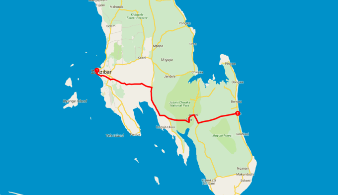 My route across Zanzibar to Paje.