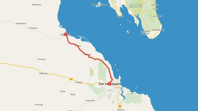 Dar es Salaam to Bagamoyo.