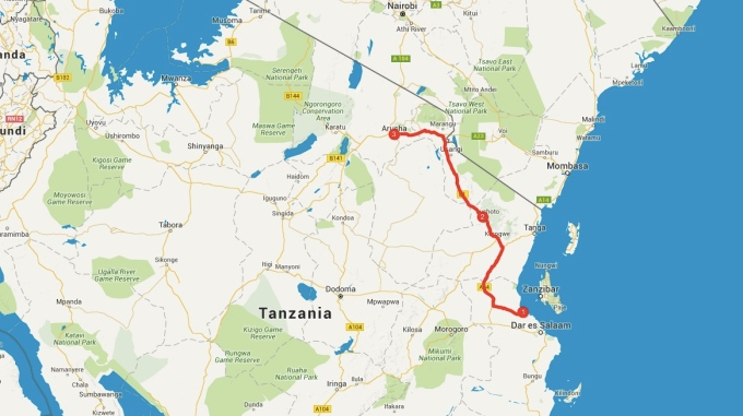 My route to Arusha.