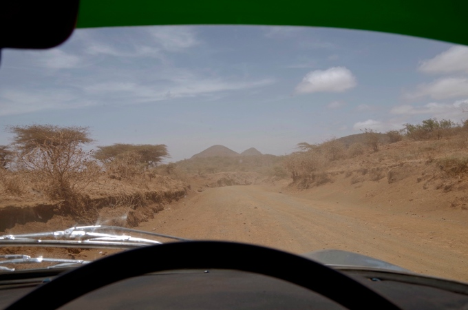 Approaching Marsabit on the dirt.