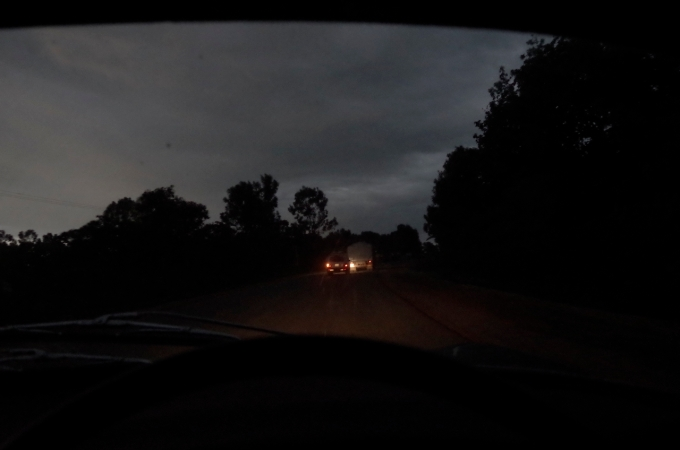 Darkness falling on the bad road.
