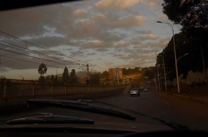 Driving at dawn, Addis Ababa.