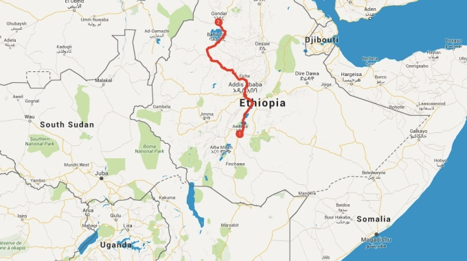 The Long Bumpy Road To Gondar Dargle To Dargle - Gondar map