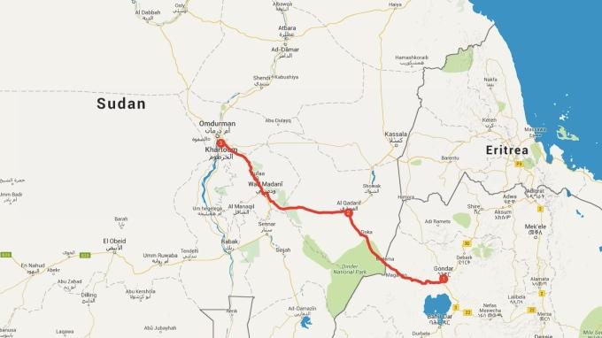 My route into Sudan, 750 kilometres.