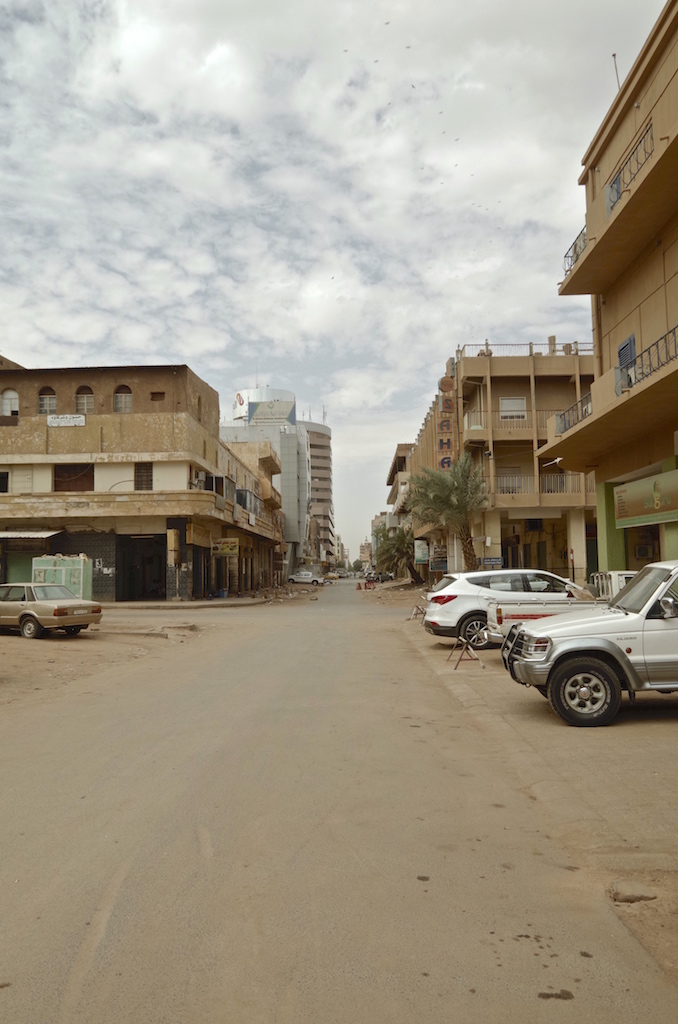 The empty streets of Khartoum on a Friday.