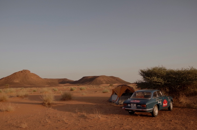 Desert camping in The Sudan, with sports car.
