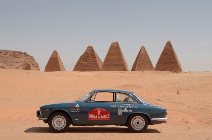 I stopped to snap a pic of the Karima Pyramids behinds my Alfa.