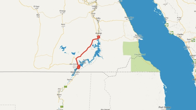 My journey from the Sudanese border on the eastern side of Lake Nubia to Aswan, Egypt. A distance of 380 kilometres.