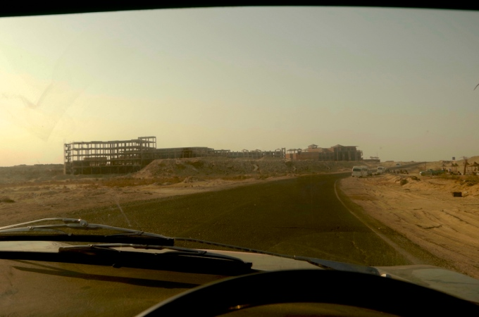 Abandoned construction projects along the Red Sea coast.