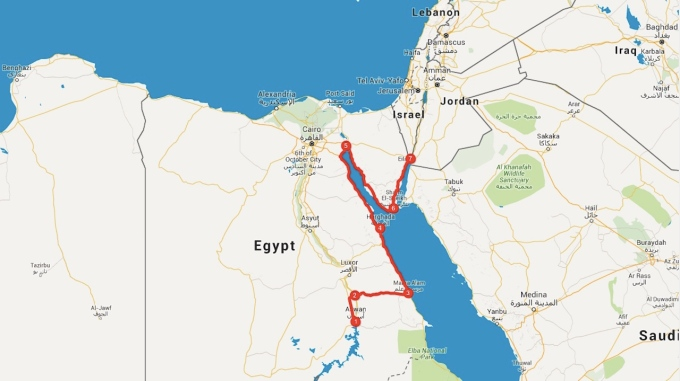 My route from Aswan to Eilat, Israel. I drove this in three days, a distance of
