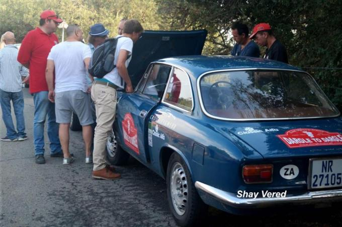 Club members having a look under the bonnet at the turn around point.