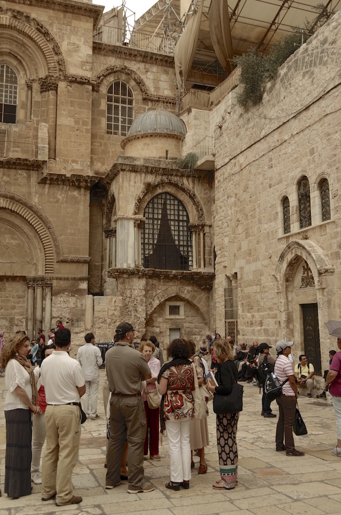 Tourists outside the church.