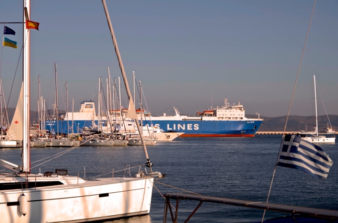 MV Alios from the marina in Lavrio.