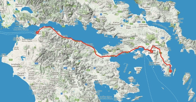 My route across Greece, from Lavrio to Patras.