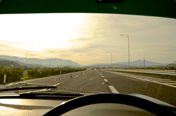 On the Autostrada heading west.