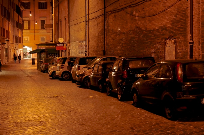 Fiat 500 tucked away amongst the modern city cars.