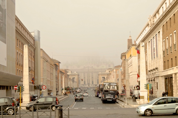 St Peters in the mist.