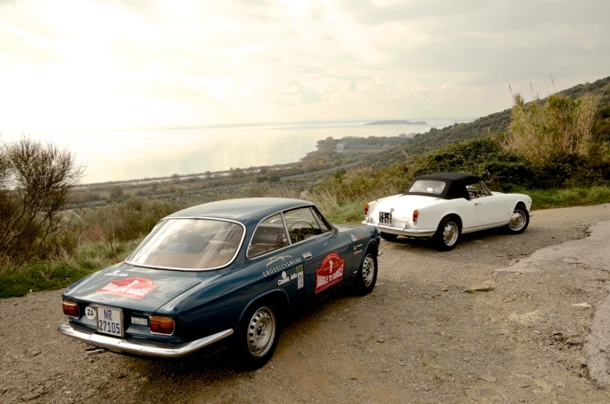 On the road with Francesco and his Giulia Spider.